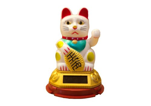 Fine Asianliving Lucky Cat Maneki Neko Sun Energy White Small