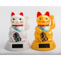 Lucky Cat Maneki Neko Zon Energie Wit Middel