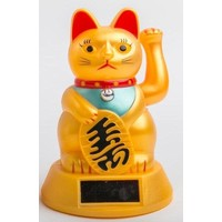 Lucky Cat Maneki Neko Zon Energie Goud Middel