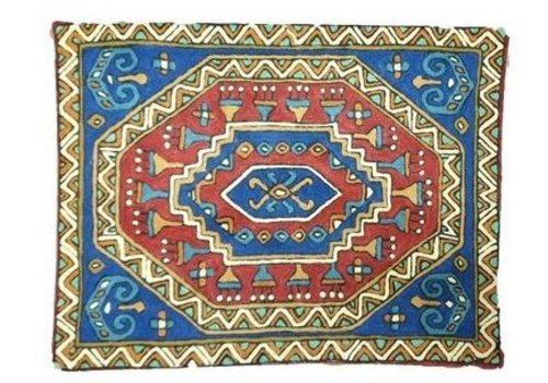 Fine Asianliving Grote kussen Nepal abstracte patroon blauwe binnenkant