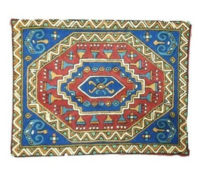 Grote kussen Nepal abstracte patroon blauwe binnenkant