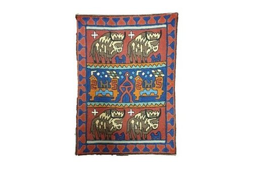 Fine Asianliving Large Cushion Nepal stier en abstracte huis