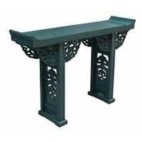 Chinese Sidetable Blue with Wood Carving - Beijing China