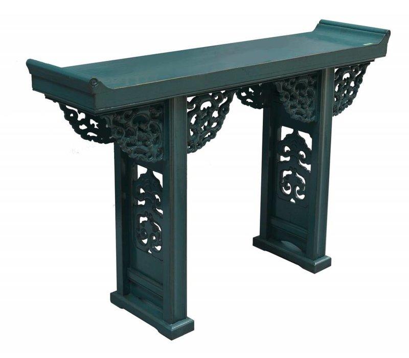 Table Console Chinoise Bleu avec sculpture sur bois - Pékin, Chine
