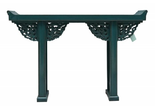 Fine Asianliving Chinese Sidetable Blue with Wood Carving - Beijing China