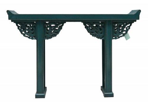 Fine Asianliving Table Console Chinoise Bleu avec sculpture sur bois - Pékin, Chine