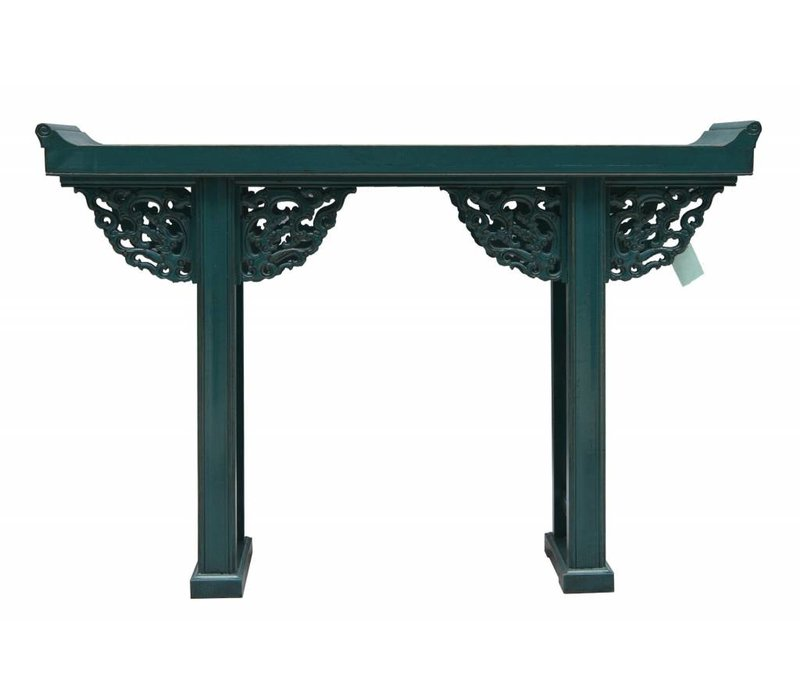 Chinese Sidetable Blue White Wood Carving - Beijing China
