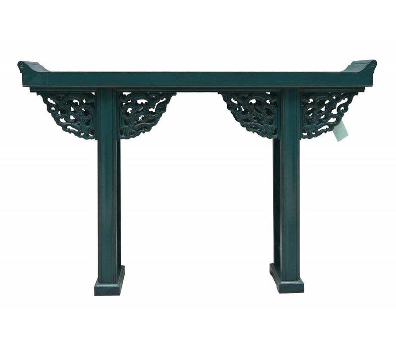 Table d'appoint chinoise en bois bleu blanc - Beijing Chine