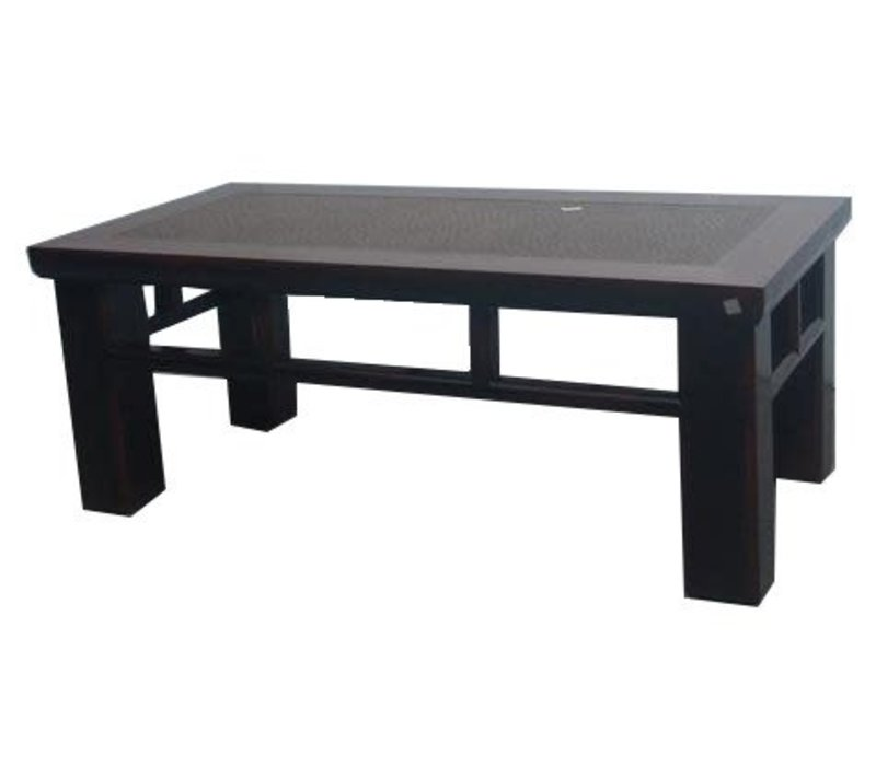 Fine Asianliving Antique Chinese Coffee Table Brown With Hand-woven Bamboo
