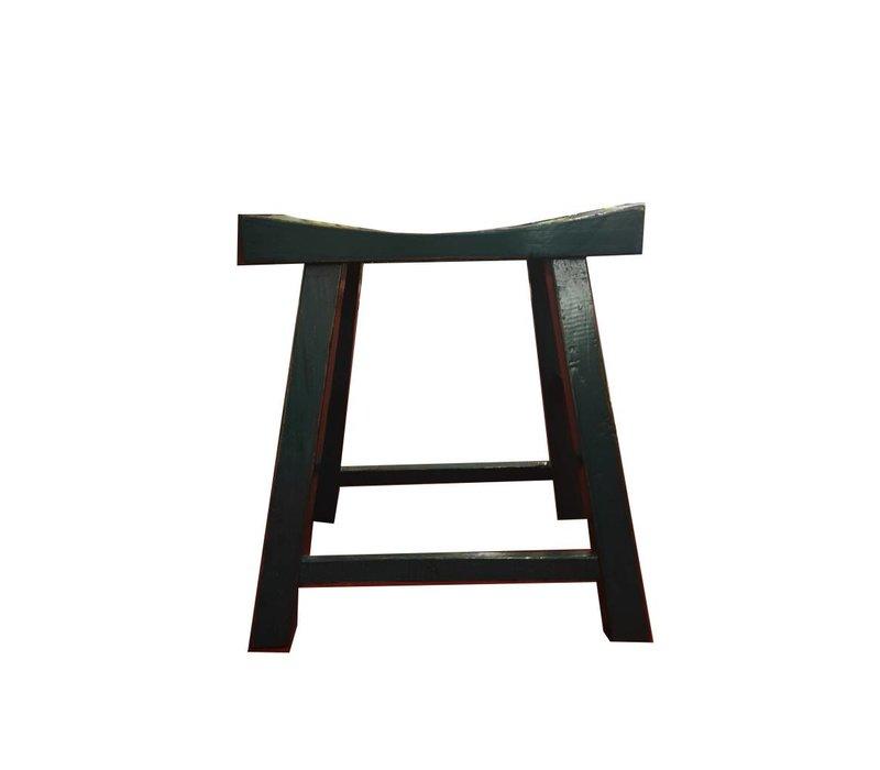 Chinesischer Hocker Glänzend Schwarz B46xT21xH52cm
