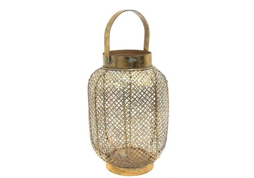 Fine Asianliving Gold Lantern with Square pattern M