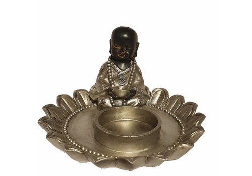 Fine Asianliving Seated monk In Lotus candle Holder