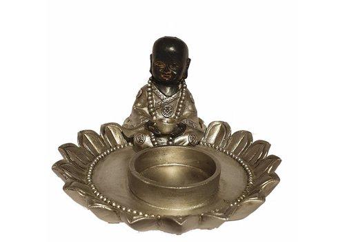 Fine Asianliving Zittende Monnik In Lotus Kaarshouder