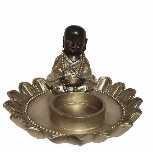 Seated monk In Lotus candle Holder