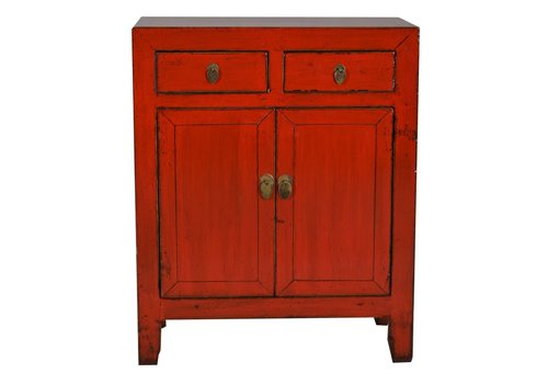 Fine Asianliving Petit meuble chinois rouge - Dongbei