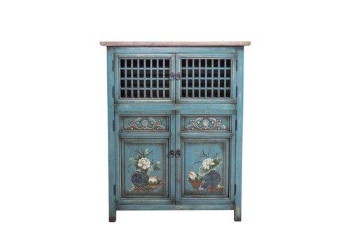 Fine Asianliving Armario Chino Detalles Pintados a Mano Azul A85xP45xA106cm