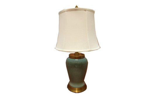 Fine Asianliving Chinese Table lamp Porcelain Dark Green