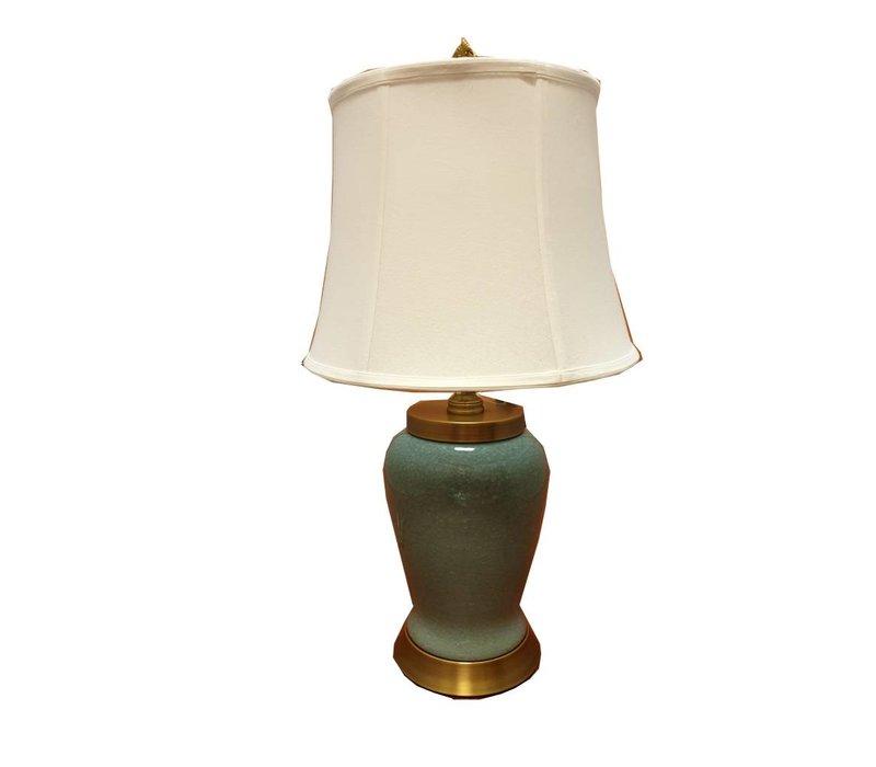 Lampe de table chinoise en porcelaine vert foncé