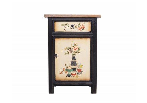 Fine Asianliving Fine Asianliving Chinese Nachtkast Bloemen-en Vazen Schilderingen