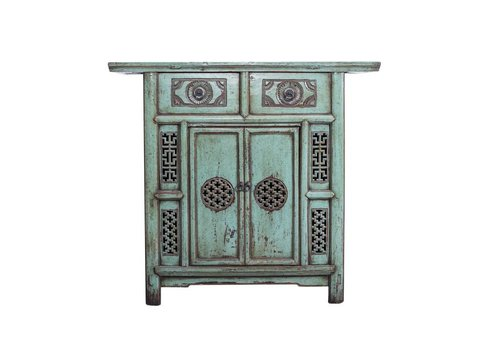 Fine Asianliving Fine Asianliving  Antique Chinese Cabinet White Details (1919-1925) Turquoise  - China