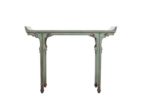 Fine Asianliving Chinese Mint Green Sidetable White Details