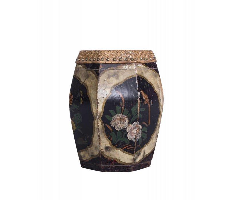 Beau tabouret Asianliving avec peinture florale - Chine
