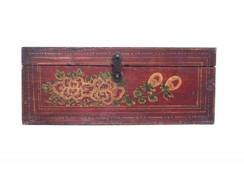 Fine Asianliving Rode Kist Met Beschildering - China