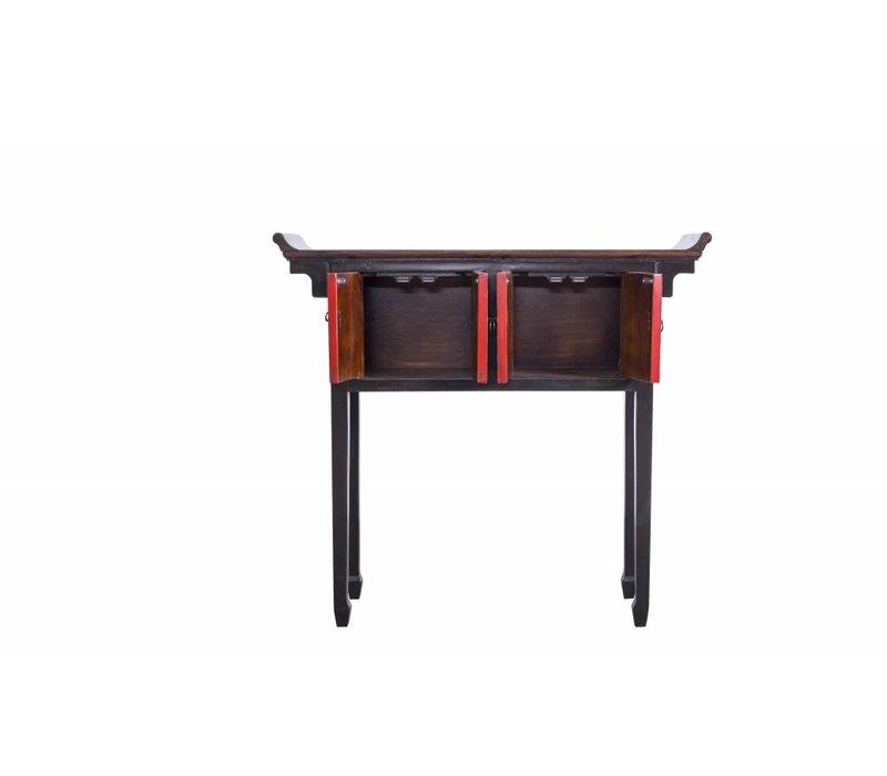 Tibetaanse Sidetable Zwart Met Details B102xD30xH95cm