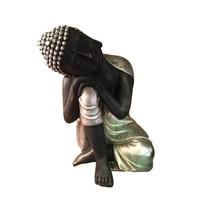 Thaise slapende Boeddha zilver zwart