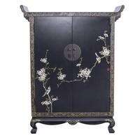 Chinese Kast Handbeschilderde Lente Zwart
