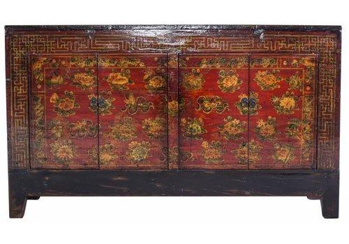 Fine Asianliving Antiek Chinees Dressoir Zwart Met Handbeschilderde Bloemen (1919-1925) - China