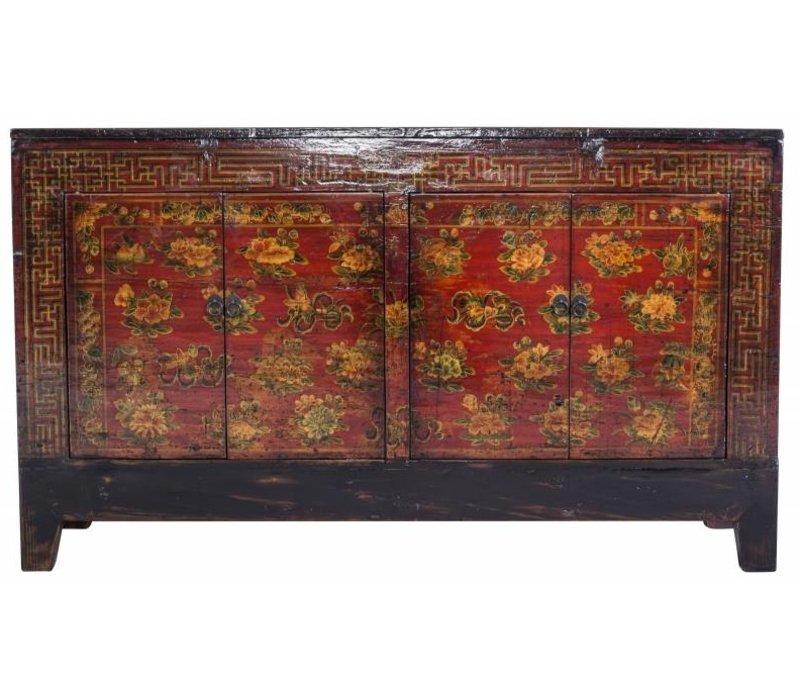 Laag Dressoir Zwart.Antiek Chinees Dressoir Zwart Met Handbeschilderde Bloemen 1919