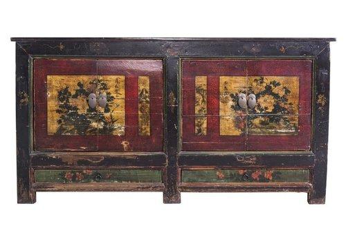 Fine Asianliving Antiek  Chinees Dressoir Handbeschilderde Gele Mudans 1900 - China