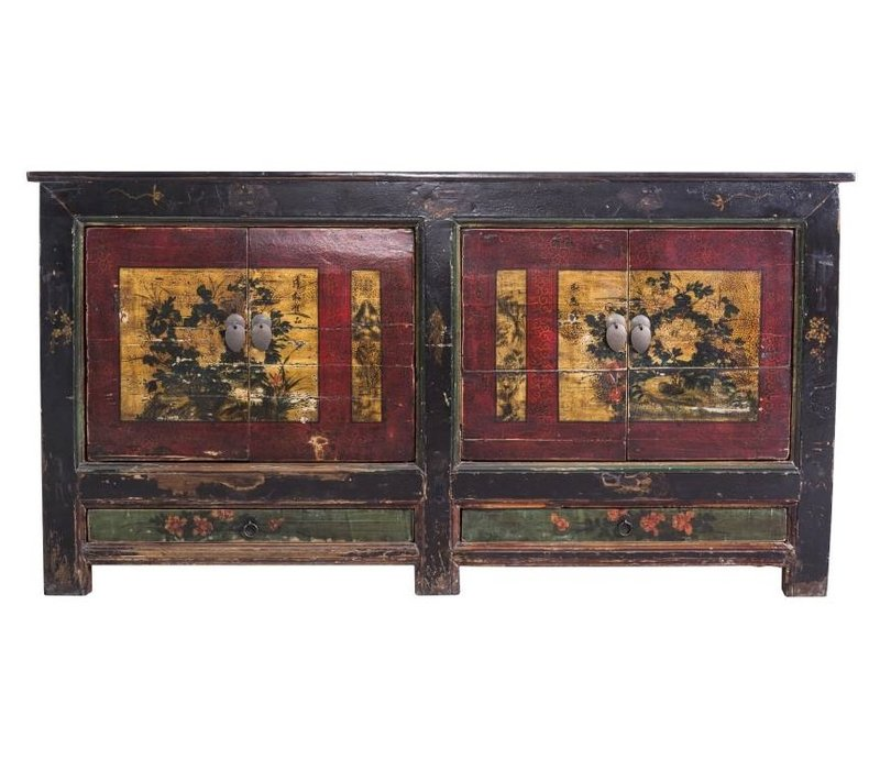 Antieke Chinese Dressoir Handgeschilderde Gele Pioenrozen - China