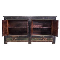 Antique Chinese Dresser with Hand-painted Yellow Mudans - China