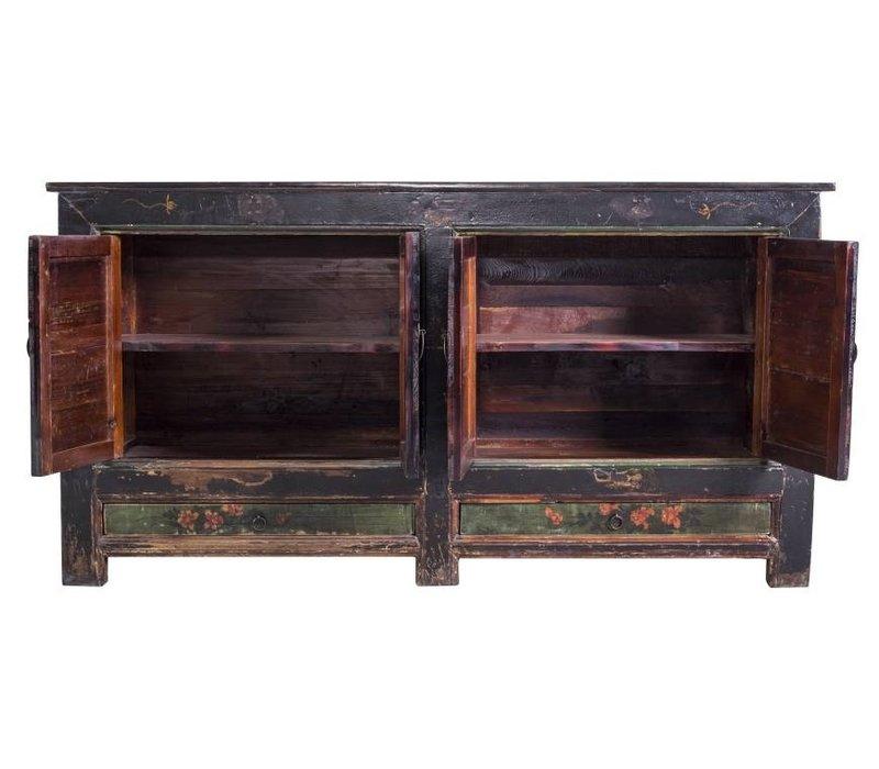 Antique Chinese Dresser White Handpainted Yellow Mudans  - China