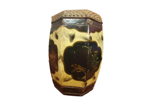 Fine Asianliving Hocker Gartenhocker Porzellan mit Natur-Malerei - China