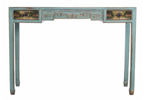 Fine Asianliving Fine Asianliving Chinees Turquoise Sidetable Met Details