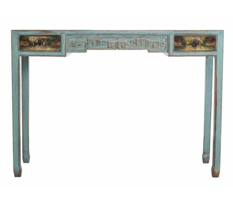 Chinees Turquoise Sidetable Met Details