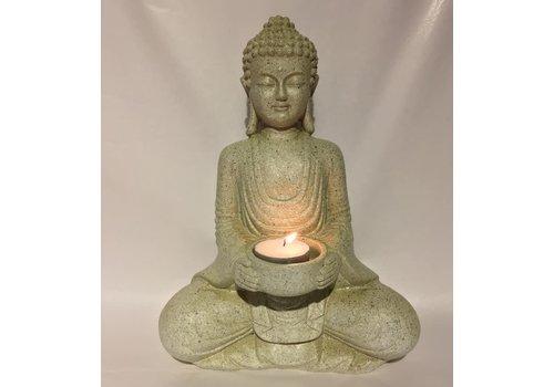 Fine Asianliving Meditatie Boeddha met kaarshouder steen