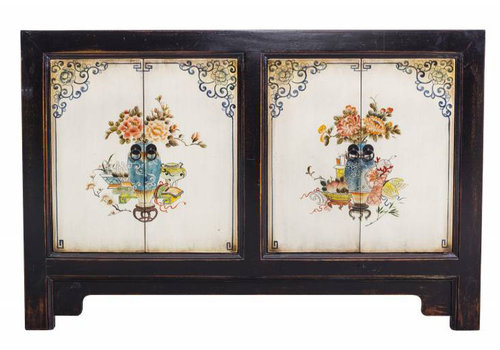 Fine Asianliving Black and with Dresser with Painting of Flowers