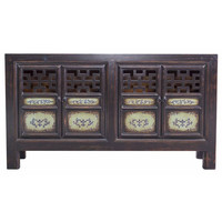 Black Chinese Cupboard Hand-painted with Open Details