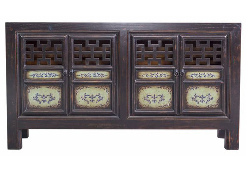 Fine Asianliving Black Chinese Sideboard Hand-painted with Open Details