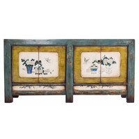Colourful Antique Chinese Cupboard White Painted Flowers