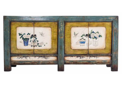 Fine Asianliving Colourful Antique Chinese Cupboard White Painted Flowers