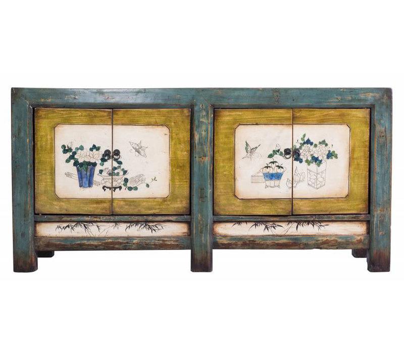 Kleurrijk Antiek Chinees Dressoir Met Schildering van Bloemen