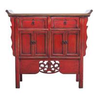 Chinees Dressoir Handgesneden Vintage Rood B90xD35xH85cm