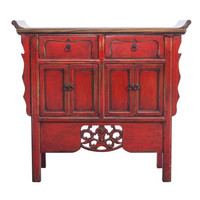 Chinese Sideboard Handcarved Vintage Red W90xD35xH85cm