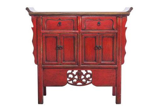 Fine Asianliving Credenza Cinese Intagliato a Mano Rossa L90xP35xA85cm