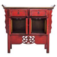 Buffet Chinois Sculpté àla Main Vintage Red L90xP35xH85cm